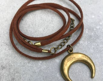 Crescent moon necklace, Boho necklace, Double horn necklace, Leather necklace, Layer necklace, Half moon necklace, Boho jewelry