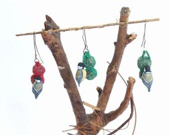 Great tit feeding on Suet Balls - 1/12th dollshouse miniature hanging garden bird