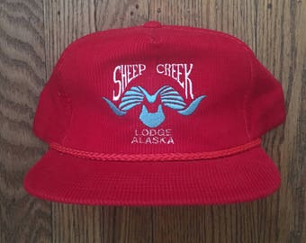 Vintage Corduroy Sheep Creek Lodge Alaska Snapback Hat Baseball Cap
