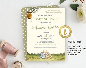 Classic Pooh Invitation, Winnie The Pooh Baby Shower Invitation, Pooh Invitation, Birthday Invitation, INSTANT DOWNLOAD, Vintage Pooh Bear