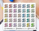 35 Stacks of Books Mini Icons -  Colourful Hand Drawn Sticker Planner