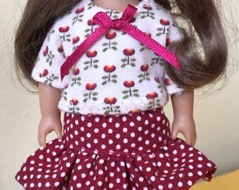 "Doll clothes for  6"" mini dolls: polka-dot skirt with flowered top"