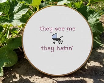 They See Me Strollin', They Hatin' Cross Stitch Pattern