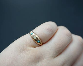 Victorian Turquoise and Pearl 9K Gold Gypsy Ring