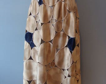 Vintage Halston Patchwork Skirt 70's Faux Suede Circles Tan Gray Blue High Wiasted A-Line Midi Skirt 1970's Boho Bohemian Festival Fashion