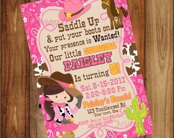 Cowgirl Birthday Invitations • Western Birthday • Saddle Up • Cowgirl Party • Western girl party • Birthday girl invitations • Digital File•