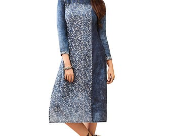 Indian Pakistan Bollywood Designer Kurti Designer Women Ethnic Blue & Off Colored Madal Kurti Top Tunic Kurta women kurti top