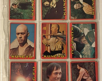 Vintage KUNG FU 1973 Topps Lot of 18 Non-Sport David Carradine TV Show Trading Cards in Very Good Condition