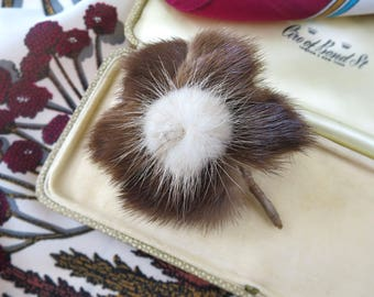 Large 1950's Mink Brooch - Two-Toned Brown & Blonde Mink Fur Brooch - Vintage Fur Corsage Pin / Millinery Piece / Hat Pin / Mink Accessory