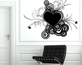 Wall Vinyl Decal Abstract Arts Valentine Day Symbol Design with Heart Living Room Decor 2664dn