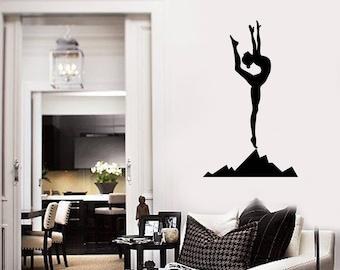 Yoga Woman Vinyl Wall Decal Girl Silhouette Meditation Room Stickers Mural (#2695di)