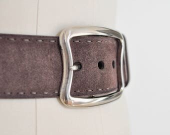 vintage women PRADA dark brown wide suede leather belt with silver color metal bucket