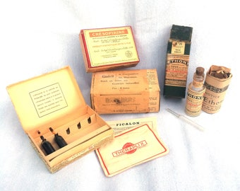 French Medicines, Apothecary Set, Garfield Tea, Cresopirine, Aethone, Ficalon, Some Unopened with Original Contents, Made in Paris