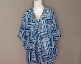 Sale! Sheer Abstract Zig-zag Print Kimono Cardigan
