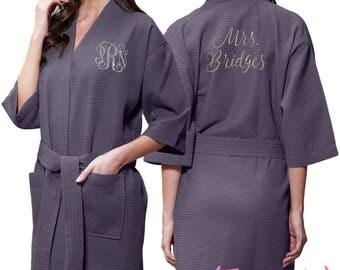 Charcoal Grey Waffle Robe - Glitter Monogram Personalization - Bridal Party Bridesmaid Robe