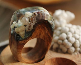 Idea for Gift|For|Her wooden ring resin jewelry Ocean ring sea shell ring summer Universal gift personalized ring terrarium jewelry bride