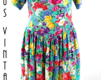 "UK 10 Vintage 80s Floral Tea Dress 1950s-Style Cotton Mad Men  EU 38 US 6 Bust up to 36"" 92cm"