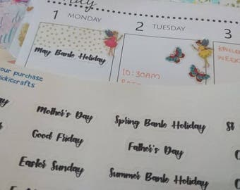 UK Holiday Planner Stickers