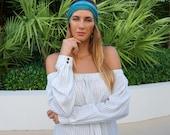 Yoga Headband / Turquoise Yoga Headband / Workout Running Headband / Boho Wide Headband / Womens Headbands / Boho Headband / Hippie Headband