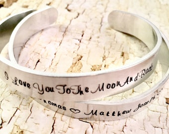 Cuff Bracelet, Hand Stamped, I love you to the Moon bracelet, Quote bracelet, Aluminum bracelet, Aluminum Cuff Bracelet, Hand Stamped
