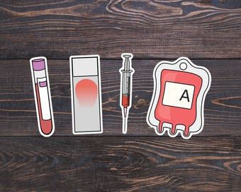 Medical Stickers - Laboratory Decal - Blood Bank/Smear/Syringe/Test Tube - Lab Tech, Veterinarian Sticker, Nurse Vinyl, Medical Student Gift