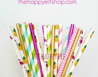 Flamingo straws. pineapple straws. flamingo party. final flamingle. tropical straws. tropical decor. flamingo decor. flamingo paper straws.