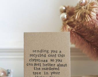 Funny Christmas Card - Sending A Recycled Card, Christmas Tree | Xmas | Humour