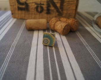 Scrabble cornflower yellow mandala ring