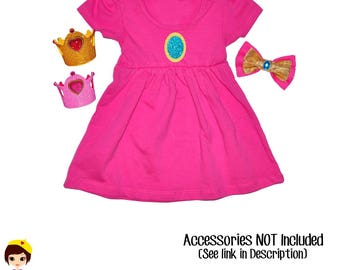 Princess Peach Inspired Dress- Hot Pink Magenta Empire Waist Dress - Marios Bros - Nintendo Character