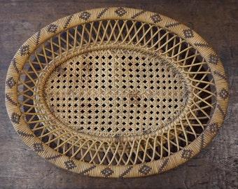 Vintage Asian Cane Basket/Flat Basket/ Wicker Basket/ Chinese Basket