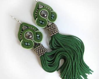Valentines day Dark green earrings, Soutache tassel earrings, Green dangle earrings. Gift ideas for sister dark green tassel soutache
