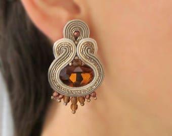 Brown clip on earrings, Topaz earrings, soutache earrings gioielli November Birthstone, Antique earrings, Vintage earrings, Earth tones