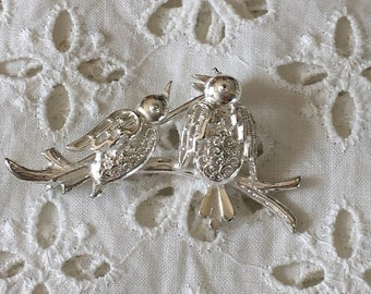 Silver birds on branch brooch
