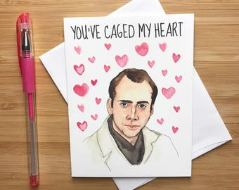Nicolas Cage Cute Love Card, Handmade Anniversary Card, Love Greeting Cards,  Greeting Card