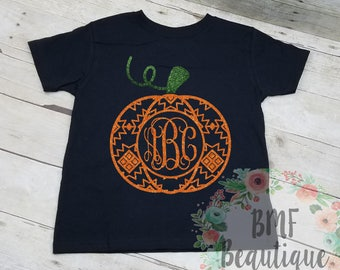 Aztec Pumpkin Glitter Monogram Shirt, Pumpkin Glitter Monogram Shirt, Fall Monogram Shirt, Autumn Monogram Shirt, Halloween Monogram Shirt
