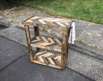 Rustic Herringbone Bar Cart