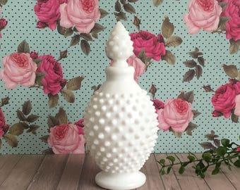 Fenton Hobnail Milk Glass - Home Decor - Perfume Bottle - Cottage Chic Decor - Gift for Her - Vanity Decor - Vintage Decor - Kitchen Decor