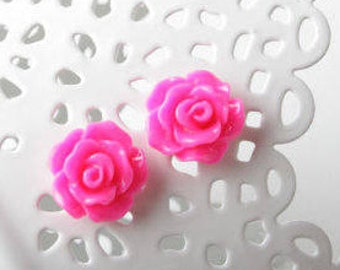 pink Stud Earrings, Rose Earrings, hot pink earrings, Fuchsia Rose Studs, Bridal party gift, hot pink wedding jewelry, Bridsmaid earrings