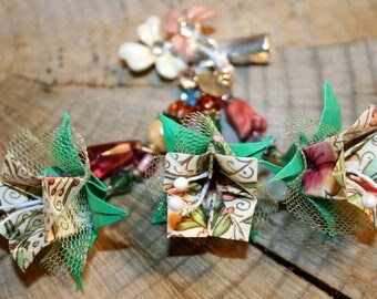 Origami Bellflowers And Beads Small Hair Clip Brooch