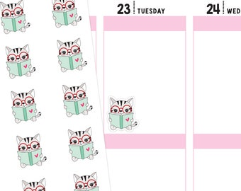 Book Cat Planner Stickers, Book Stickers, Reading Planner Stickers, Reading Stickers, Study Stickers, Cat Stickers