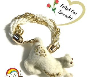 Gold and White Cat Bracelet, Needle Felted Cat Bracelet, On Trend Bracelet, On Trend Gift, Designer Bracelet, Hand Crafted Xmas Gift