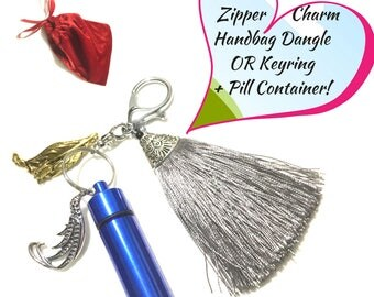 Tassel Zipper Charm, Grey Tassel Bag Dangle, Key Ring, Versatile Gift, Convenient Pill Carrier, Tassel Jacket Decor,Zipper Decor