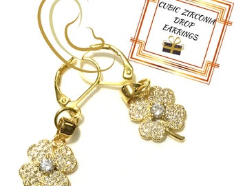 Lucky Four Leaf Clover Earrings, Gold Cubic Zirconia Earrings, On Trend Gift, Gift for Her, Lucky Drop Earring Gift,Anytime Gift,