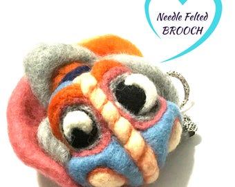 Unique Fantasy Brooch, Needle Felted Designer Brooch, Versatile Pendant or Fridge Magnet, One- of- a-Kind Creation, Perfune Diffuser