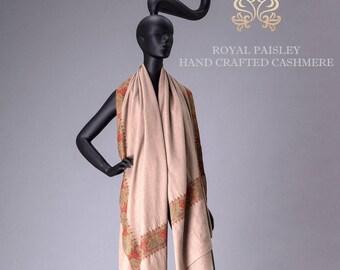 Pashmina Shawl Dul Dar Embroidery Natural Gray