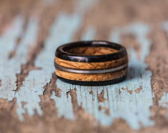 Tennessee Whiskey Barrel and Ebony Ring with Guitar String Inlay - Mens Wedding Band Womens Ring Anniversary Gift Wood Engagement Ring