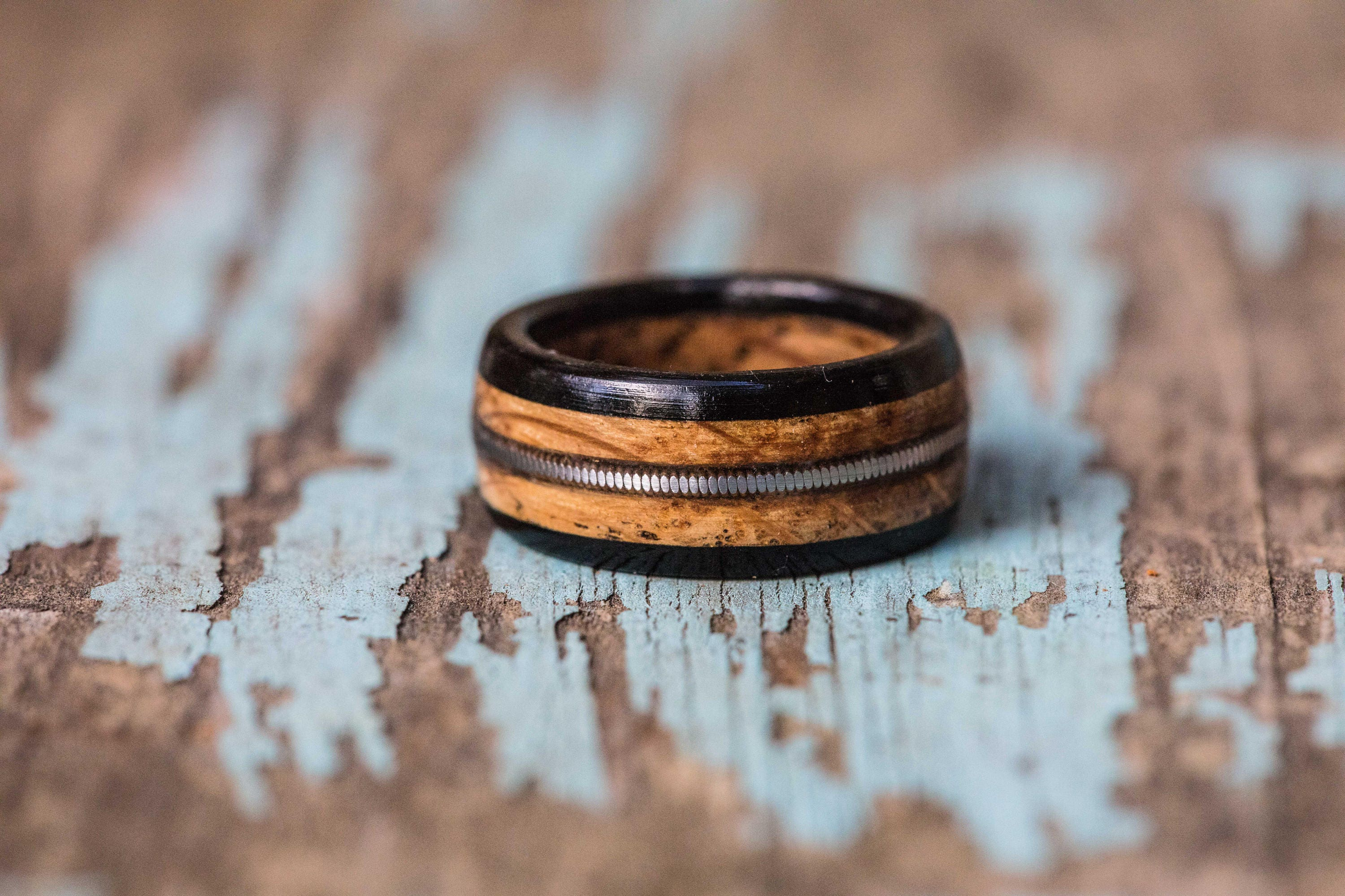 Tennessee Whiskey Barrel And Ebony Ring With Guitar String