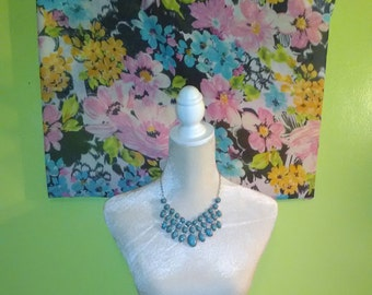 Vintage Blue Gold-Tone Bib Necklace