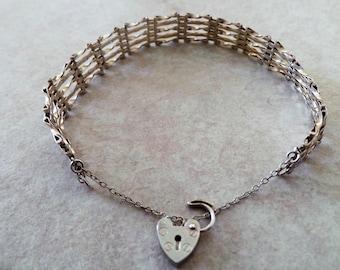 Vintage 925 Sterling Silver 5 Bar Gate Bracelet