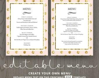 Diy bridal shower menu cards for wedding reception engagement dinner buffet table, pink blush gold, polka dot, editable template DIGITAL